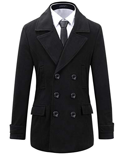 Beninos Mens Wool Slim Fit Double Breasted Half Trench Coat (0051, Black, L)