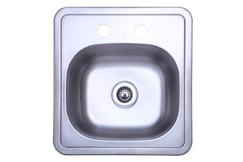 (Kingston Brass Gourmetier K16156BN  22 Gauge Single Bowl Stainless Steel Self-Rimming Bar Sink, Brushed Stainless Steel)