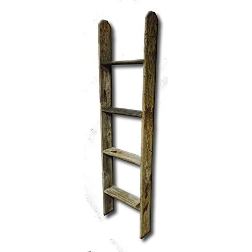 Old Farmhouse 4 Tall Primitive Barnwood Display Ladder Authentic Weathered Wood