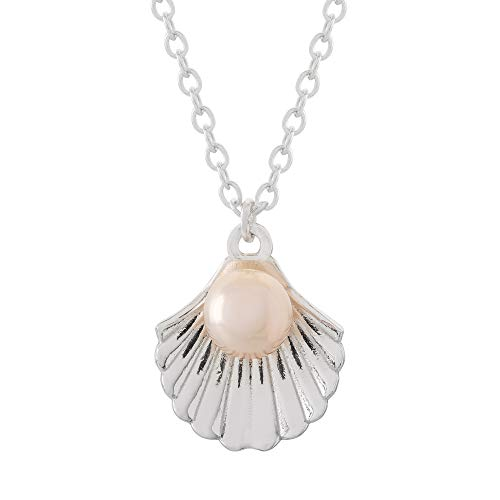 "Disney Princess Offically Licensed Jewelry for Women and Girls Little Mermaid Sterling Silver Seashell Necklace, 18""Chain ()"