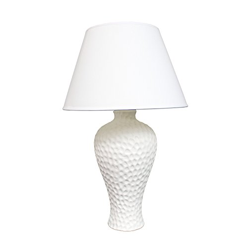 Simple Designs LT2004 WHT Texturized Curvy Ceramic Table Lamp, White