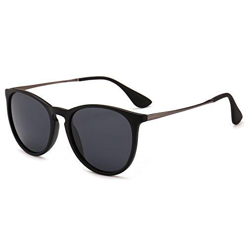 SUNGAIT Vintage Round Sunglasses for Women Classic Retro Designer Style (Black Frame Matte Finish/Polarized Grey Lens) 1567 PGHKH