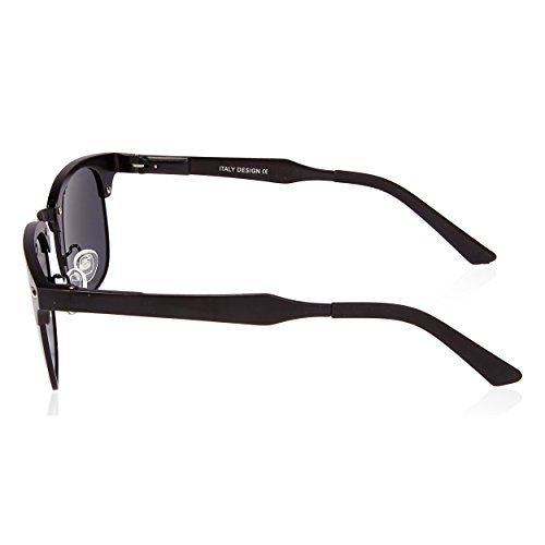 SUNGAIT Classic Half Frame Clubmaster Sunglasses with Polarized Lens Black Frame Gray Lens