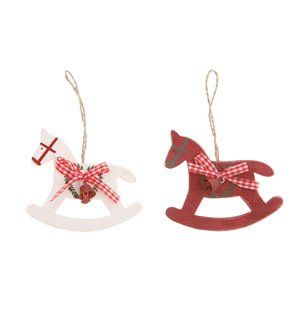 a pair of red white wooden rocking horses christmas tree hanging decoration - Horse Christmas Decorations Uk