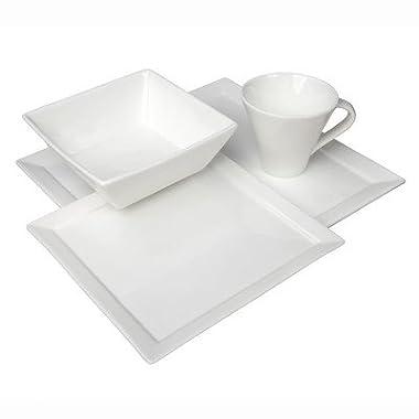 Fortessa Fortaluxe Vitrified China Dinnerware, Tavola 16-Piece Place Setting, Service for 4