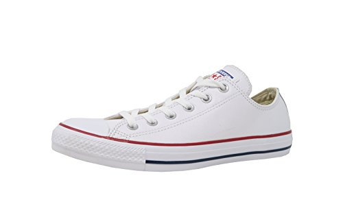Converse Chuck Taylor All Star Leather Low Top Sneaker, White, 6.5 Men US / 8.5 Women (Converse Women Leather)