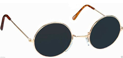 John Lennon Sunglasses Round Shades Gold Frame Black Lenses - Mar Costa Del Glasses
