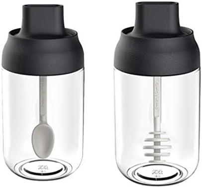 UPKOCH 2ピース空の収納瓶調味料ボトル蜂蜜瓶ガラス瓶蓋付き多機能キッチンレストランホーム
