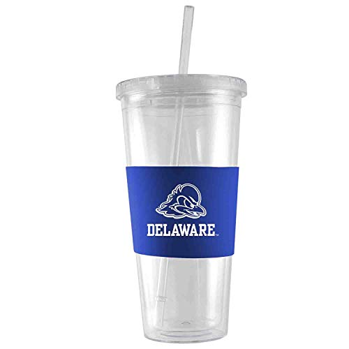 University of Delaware-24 oz. Acrylic Tumbler- Engraved Silicone Sleeve-Blue