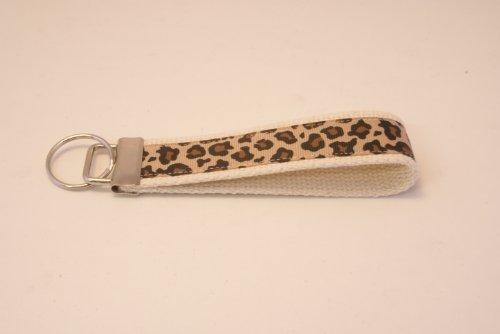 Wristlet Key Fob Larger 6 Inch Tan Leopard Print Bone