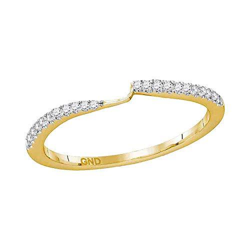 14kt Yellow Gold Womens Round Diamond 2-stone Wedding Band 1/10 Cttw ()
