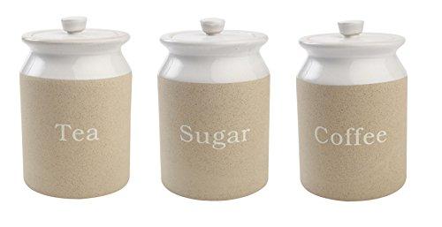 T&G Woodware Stone Design Stoneware Tea Sugar Coffee Storage Jar Set of 3 by T&G Woodware