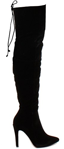 Style Faux PLATFORM HEEL Suede WEDGE WOMENS SIZE HIGH KNEE MID E Black LADIES BOOTS xqwz7g