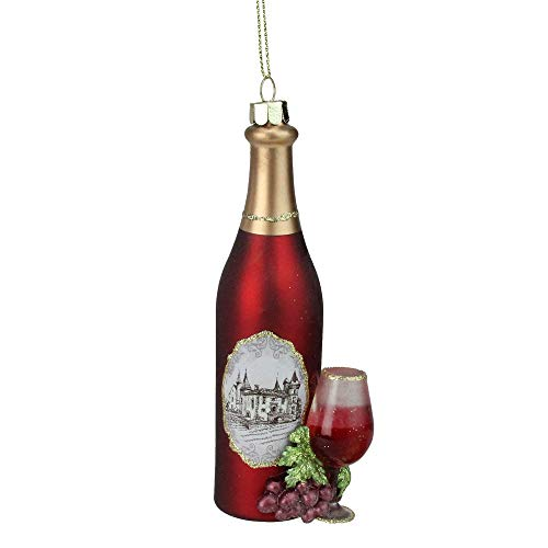 (Northlight Tuscan Winery Red Wine Glass Bottle Christmas Ornament, 5.75