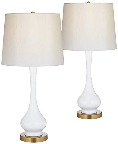 Lula Mid Century Modern Table Lamps Set of 2 Metal White Gourd Off White Drum Shade for Living Room Family Bedroom - White Gourd