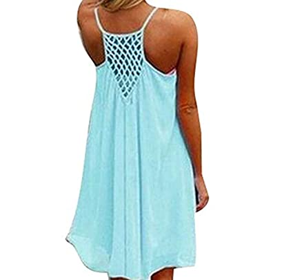 Whobabe Vestido de Gasa de Color S/ólido para Mujer Vestido de Playa Sin Mangas de Verano Halter Bohemio Vestido de Blusa Suelta Informal