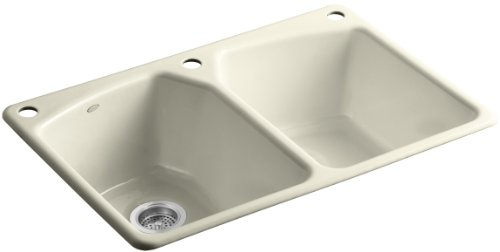 Kohler K-6491-3-FD Tanager Self-Rimming Kitchen Sink with Single-Hole Faucet Drilling and Two Accessory Holes, Cane Sugar