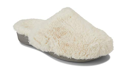Vionic Womens Indulge Gemma Plush Slipper - Ladies Adjustable Mule Slipper with Concealed Orthotic Arch Support Ivory 8 M US