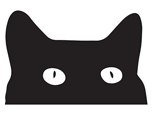 (ANGDEST [Set of 2] Halloween Hidding CAT (Black) - Handmade - Premium Quality - Waterproof Vinyl Decal Stickers for Laptop Phone Accessory Helmet Car Window Bumper Mug Tuber Cup Door)