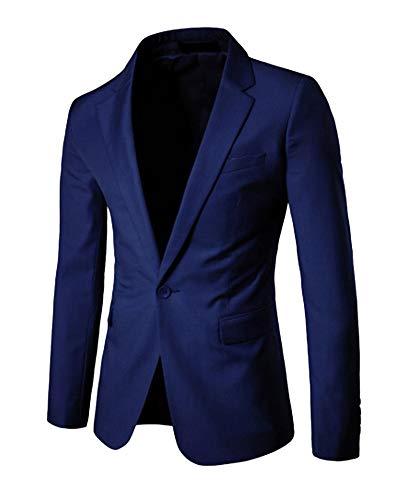 Fit Homme Blazer Bouton Elegant Casual Manteau Slim Bleu Marin Veste Jacket Costume Un ZdvwpvCq