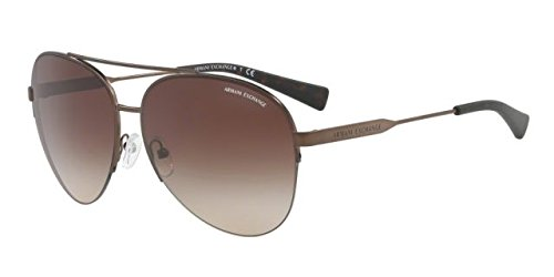 Armani Exchange Men's Metal Man Aviator Sunglasses, Matte Bronze, 60 - Aviator Sunglasses Armani