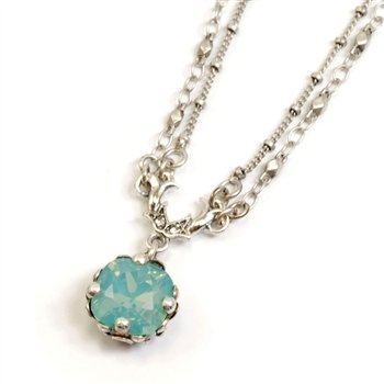 Sweet Romance, Ollipop, Designer Vintage Style Necklace, Pacific Opal, Turquoise Stone, Cushion Cut Jewel Necklace,