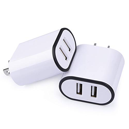 Double USB Port Charger, Charging Cubes Wall Plug Android, Flecom 2 Pack 2.1AMP Dual USB Plug Power Adapter Charger Block Charging Cube Compatible for iPhone X/ 8/7/ 6S Plus, iPad, ()