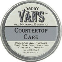 Daddy Van's® All Natural Beeswax Countertop Care for Soapstone, Slate, Concrete Composite and Butcher Block Counter Tops - Food Safe, Chemical-Free and Non-Toxic - A Little Goes a Long Way with this 5 Ounce Tin