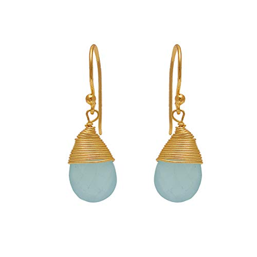 - Aqua Chalcedony Gemstone Earring, Gold Plated Earring, Dangling Earring For Women And Gairls