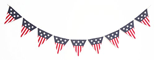 Seasons Treasure 6ft Handmade Patriotic Burlap Banners (Triangle)]()