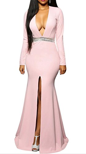 Elady Sexy Night Party Cocktail Midi Dress Women V Slit Clubwear Bodycon Pink (XS) (Cheap Fancy Dress Outfits)