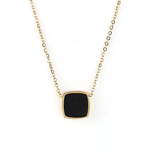 United Elegance Contemporary Gold Tone Designer Necklace with Jet Black Faux Onyx Square Geometric ()