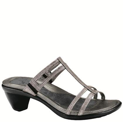 Metal Womens Pumps - NAOT Footwear Women's Loop Slide Sandal Silver Threads 36 M EU