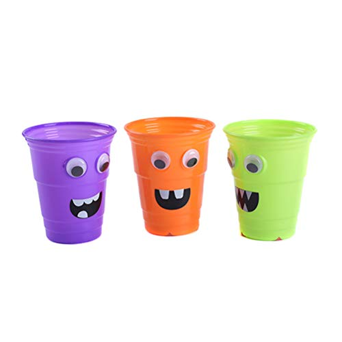 3pcs 800ml Halloween Cartoon Plastic Cups Halloween Reusable Drinking Cup Party Supplies Mixed Color