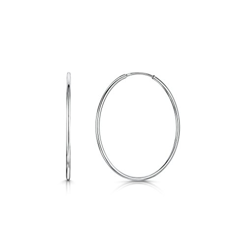 Amberta 925 Sterling Silver Fine Circle Endless Hoops - Polished Round Sleeper Earrings Diameter Size: 20 30 40 60 80 mm (40mm) by Amberta (Image #1)