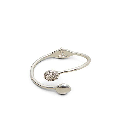 Kenneth Cole New York Power of The Flower Silver and Crystal Pave Stone Hinge Cuff Bracelet