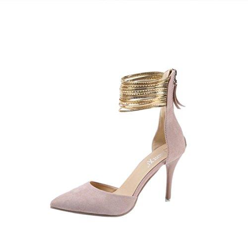 LHWY Sandalen Damen Damenmode Brautschuhe Dünne Fersen Spitz Keile High Heels Schuhe Einfarbiges Peeling Fein Hohlkeilen Schlanker Absatz Reißverschluss Tanzschuhe 36-42 Rosa