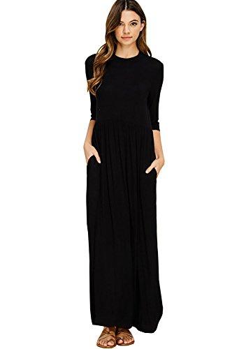 12 Ami Casual 3/4 Sleeve Flowy Pocket Maxi Dress Black M