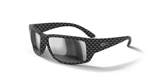 REKS Unbreakable WRAP AROUND Sunglasses (NEW 2019 Model) (Carbon, Silver Mirror Polarized)