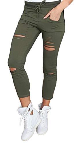 Trous Vert Couleur Dame Pantalons Trousers Loisirs Maigre Femme Crayon Automne Printemps Unie Casual De Arraché Battercake Étendue Pantalon TBqZw0