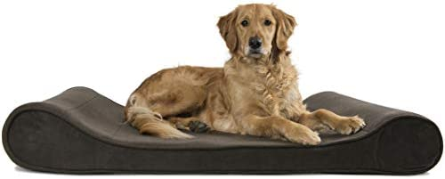 Furhaven Pet Dog Bed – Ergonomic Contour Lounger Therapeutic Sofa-Style L Shaped ChaiseLiving Room Couch Pet Bed w Removable Cover for Dogs Cats – Available in Multiple Colors Styles
