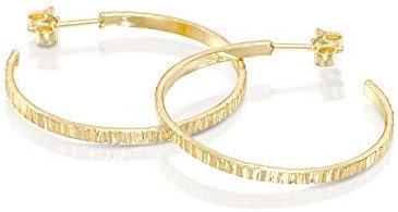 Classic textur/é en remplie or 14 K Grandes boucles doreilles cr/éoles avec piquets et fermoirs papillon /él/égant de bijoux pour femme