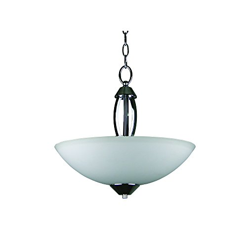 Yosemite Home Decor 179-3U-16CH 3-Light Bowl Chandelier with Opal Glass, 16