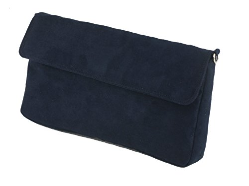 Navy Faux Suede Clutch Bag - 4