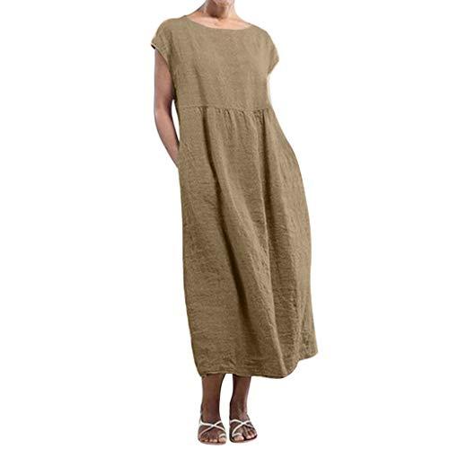 Aniywn Women Casual Loose Solid Short Sleeve Linen Tunic Long Dress O-Neck Baggy Kaftan Long Dress Brown