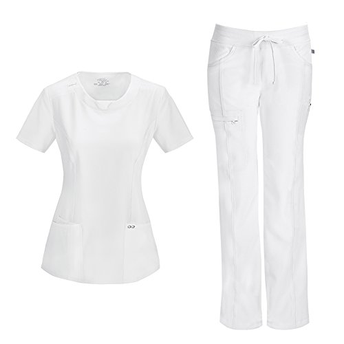 Infinity by Cherokee Womens 2624A Round Neck Top with badge loop & 1123A Straight Leg Low Rise Comfort Pant Medical Uniform Scrub Set Top & Pants (White - X-Small / XSmall Petite)