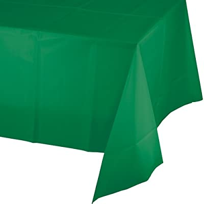 Creative Converting Touch of Color Plastic Table Cover, 54 by 108-Inch, Emerald Green by Creative Converting