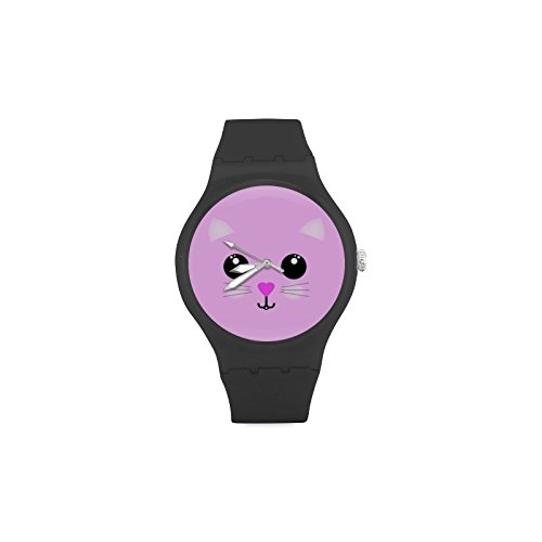 Custom Relojes Kawaii Hello Kitty unisex redonda de goma reloj deportivo: Amazon.es: Relojes
