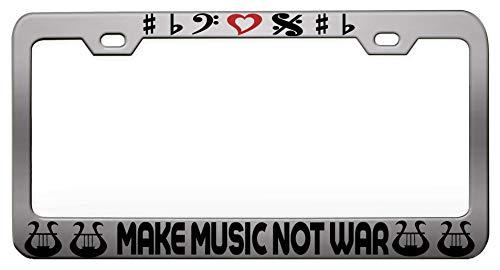 MAKE MUSIC NOT WAR Music Instruments Steel Metal Chrome License Tag Holder, License Plate (Pre War Instrument)