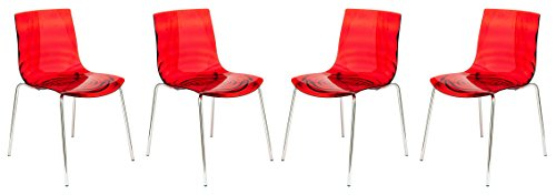 LeisureMod Water Ripple Design Modern Lucite Dining Side Chair with Metal Legs, Set of 4 Transparent Red